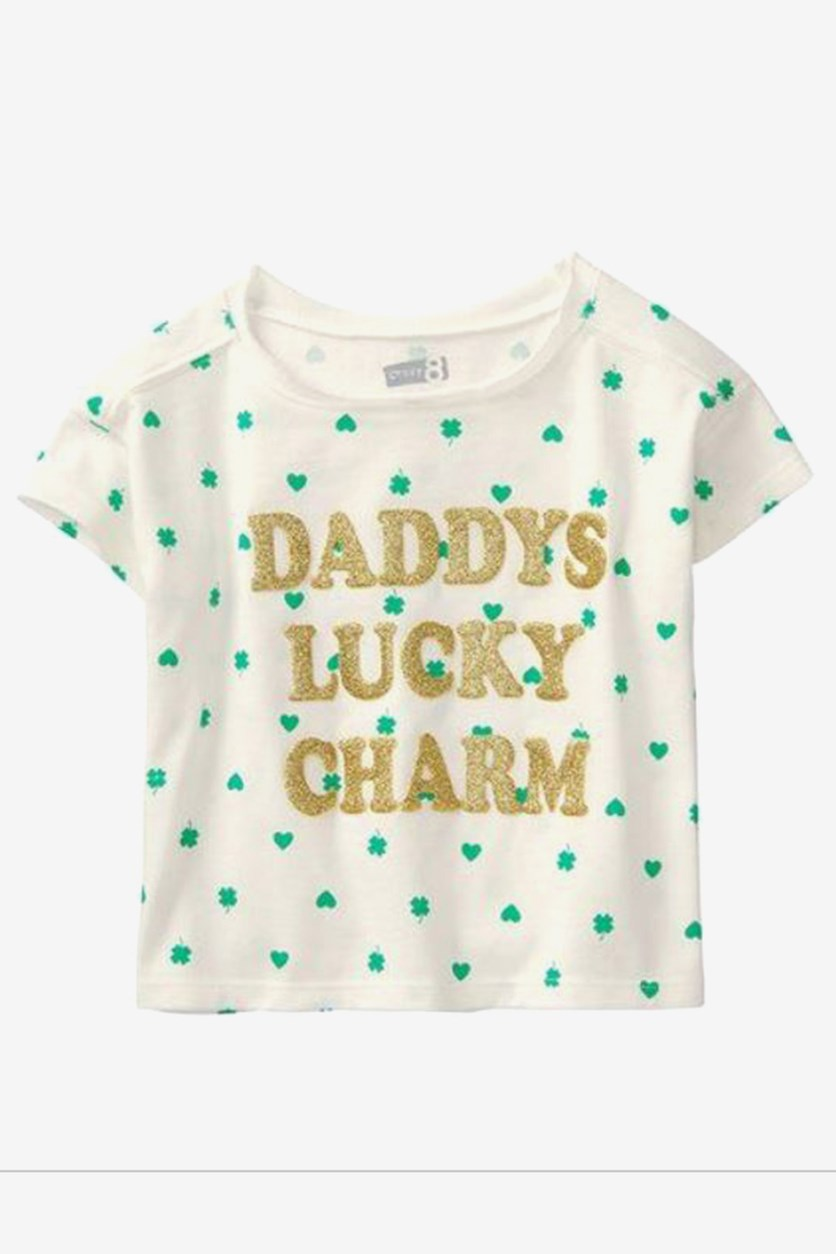 Toddlers Daddy Lucky Charm Tee, White Combo