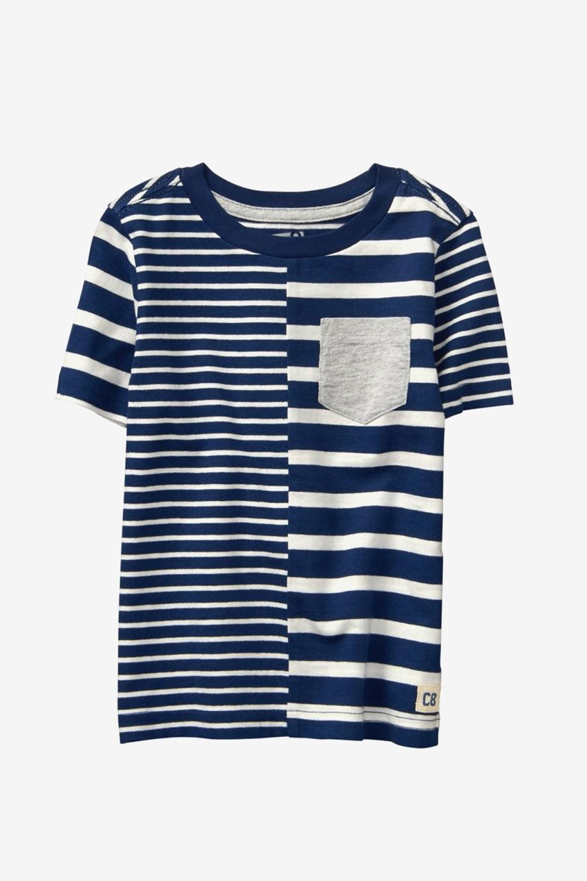Toddlers Striped Tee, Navy/White