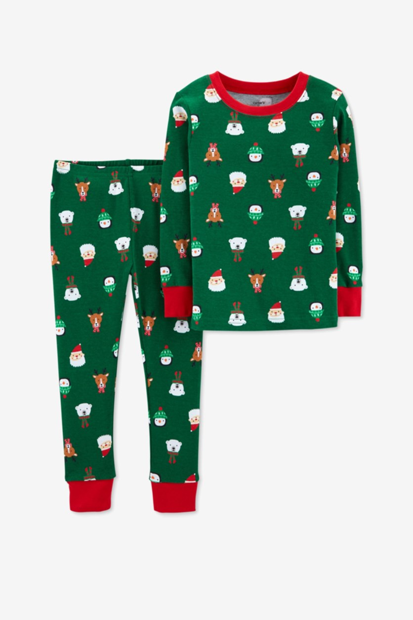 Carter's Baby Boys Holiday Print Top Cotton Pajamas, Green