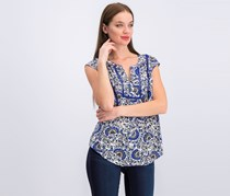 Daniel Rainn Women's Printed Tops, Blue Combo