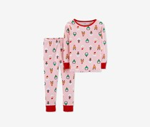 Carter's Baby Girls Holiday-Print Cotton Pajamas, Pink