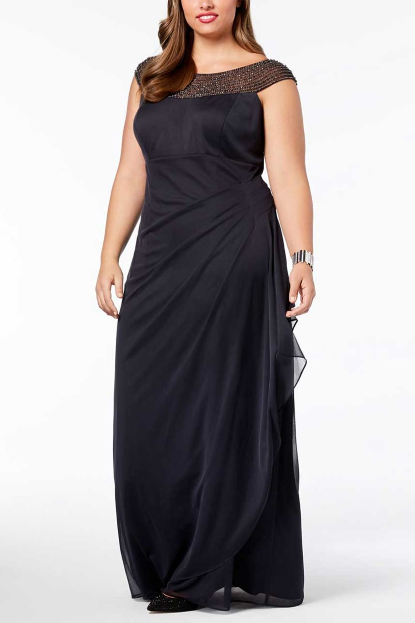 Women's Embellished Ruched Gown, Black