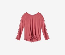 Beautees Big Girls Cage-Sleeve Front-Tie Shirt, Marsala