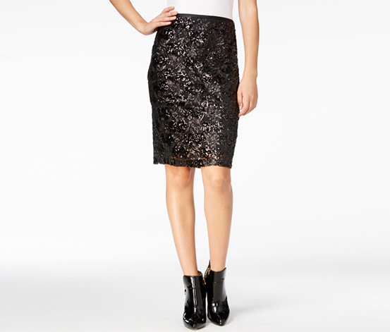 Fair Child Women's Sequin Pencil Skirt, Black