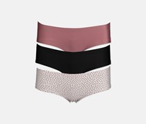 Women's 3-Pack Laser Panties, Black/Mauve/Light Pink