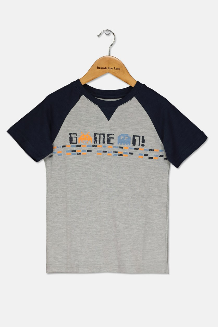 Butter Super Soft  Boy's Graphic Print -Shirt, Grey/Navy