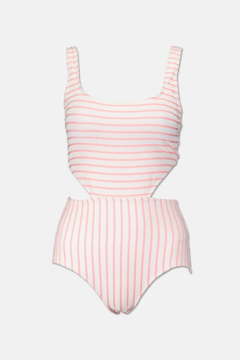 Studio Striped Cutout One-piece Swimsuit, Coral Stripe