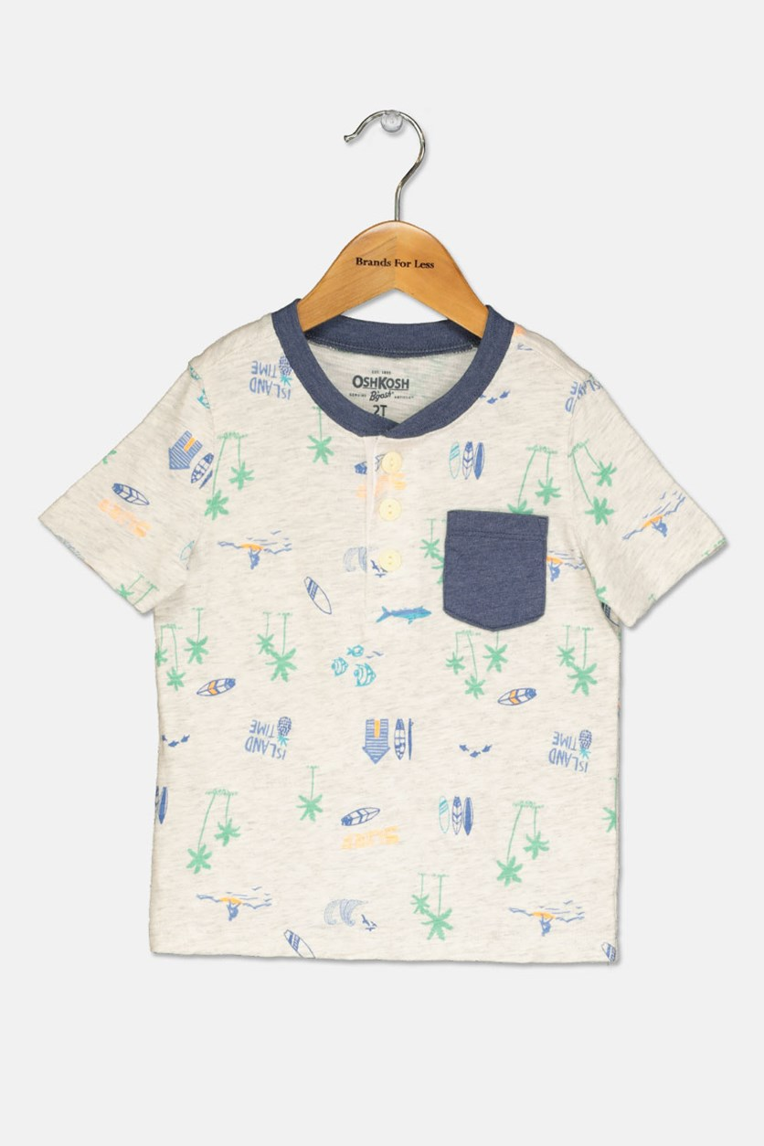 Little Boys Printed Shirt, Heather Gray/Navy