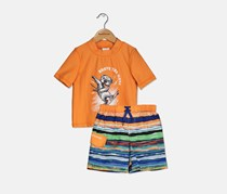 Skechers Little Boy's Rash Guard Set, Orange/Blue Combo