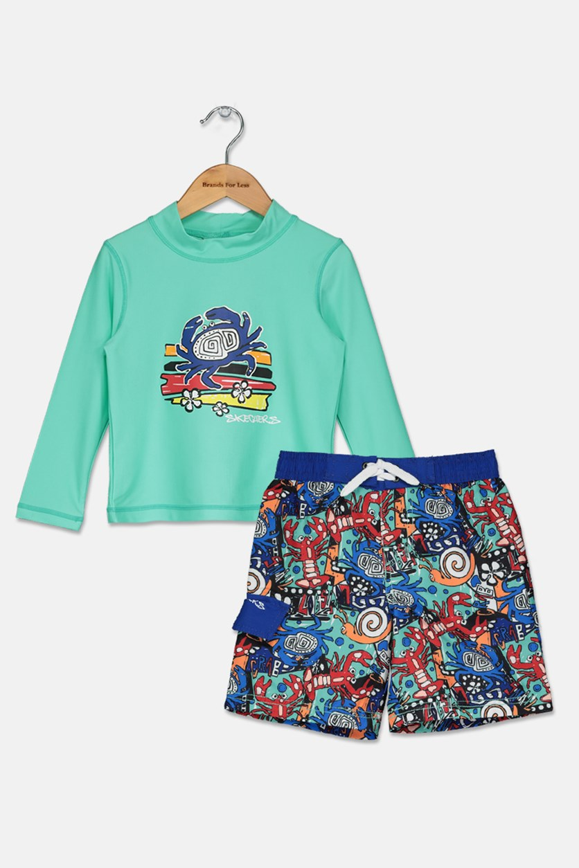 Toddlers Rash Guard Set, Aqua Combo
