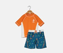 Skechers Little Boy's Rash Guard Set, Orange/Teal Combo