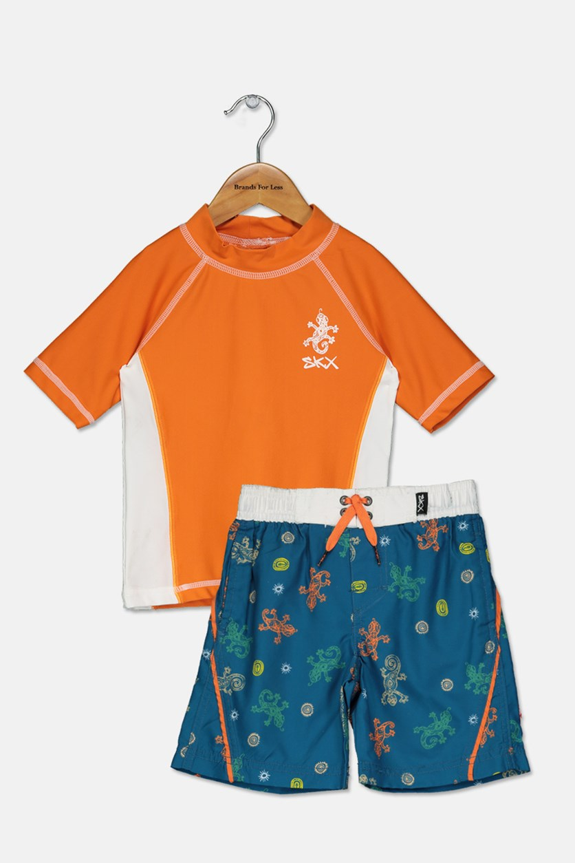 Little Boy's Rash Guard Set, Orange/Teal Combo