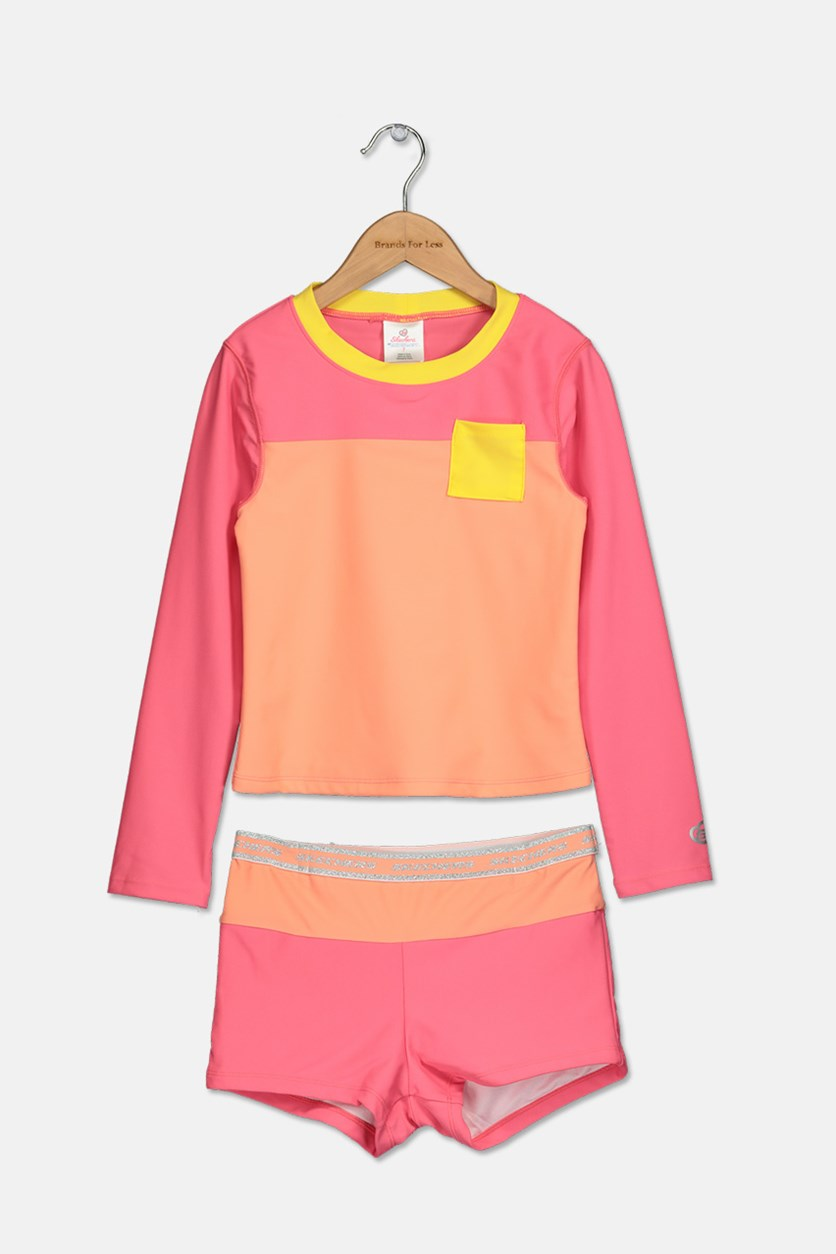 Girls Rash Guard Set, Coral