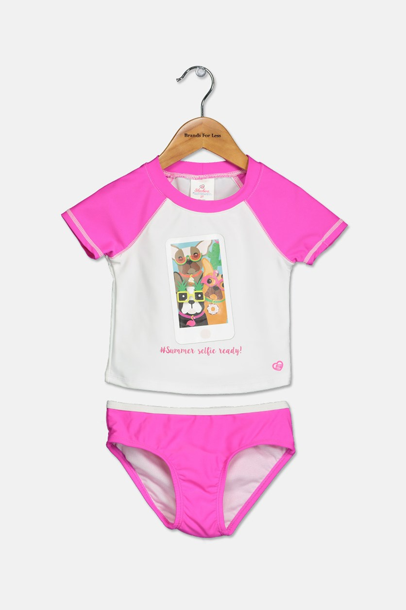 Toddlers Rash Guard Set, Pink/White