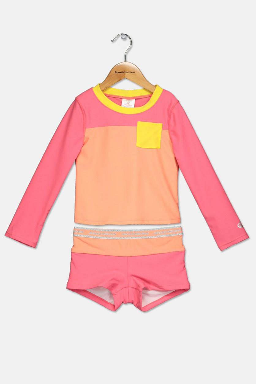 Toddlers Rash Guard Set, Coral