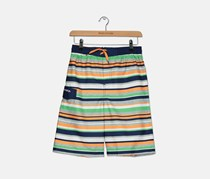 Skechers Boy's Stripe Swim Trunks, Navy/Orange