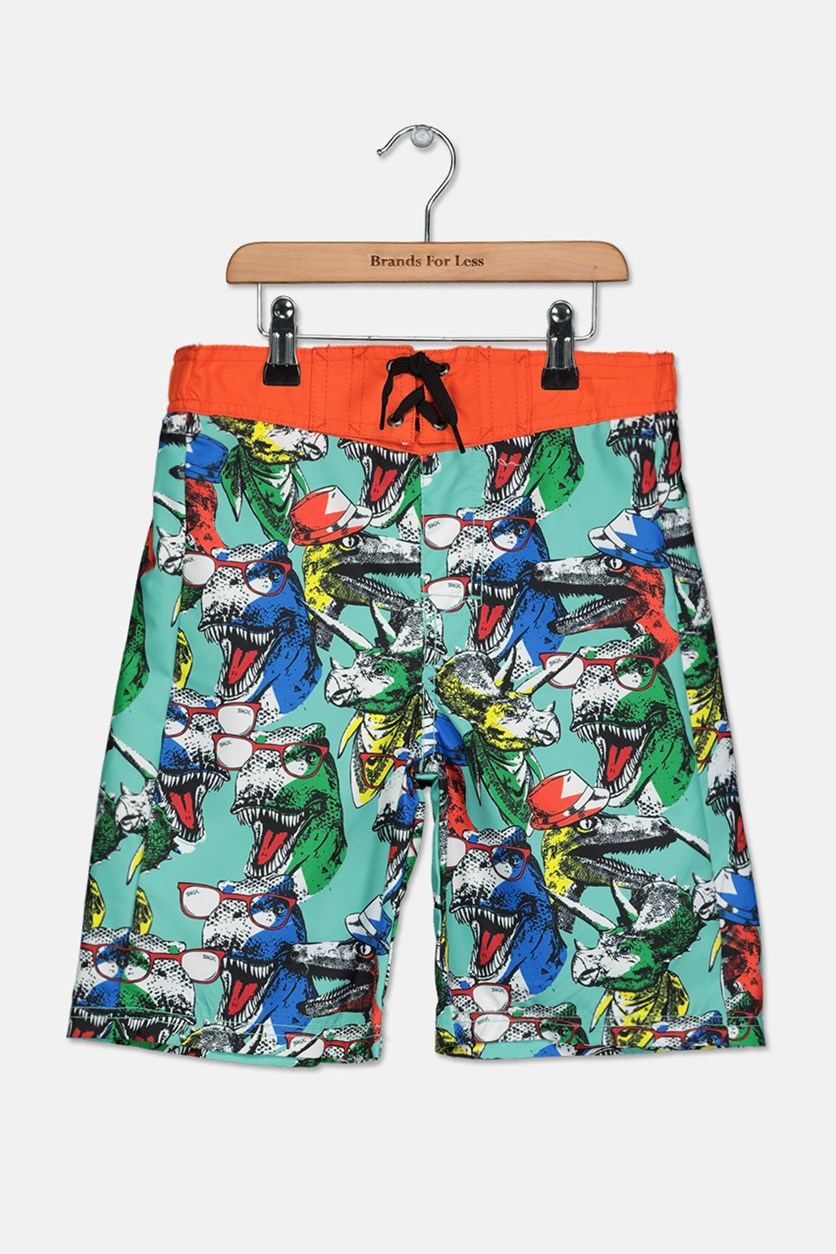 Boy's Printed Swim Trunks, Orange/Teal Combo