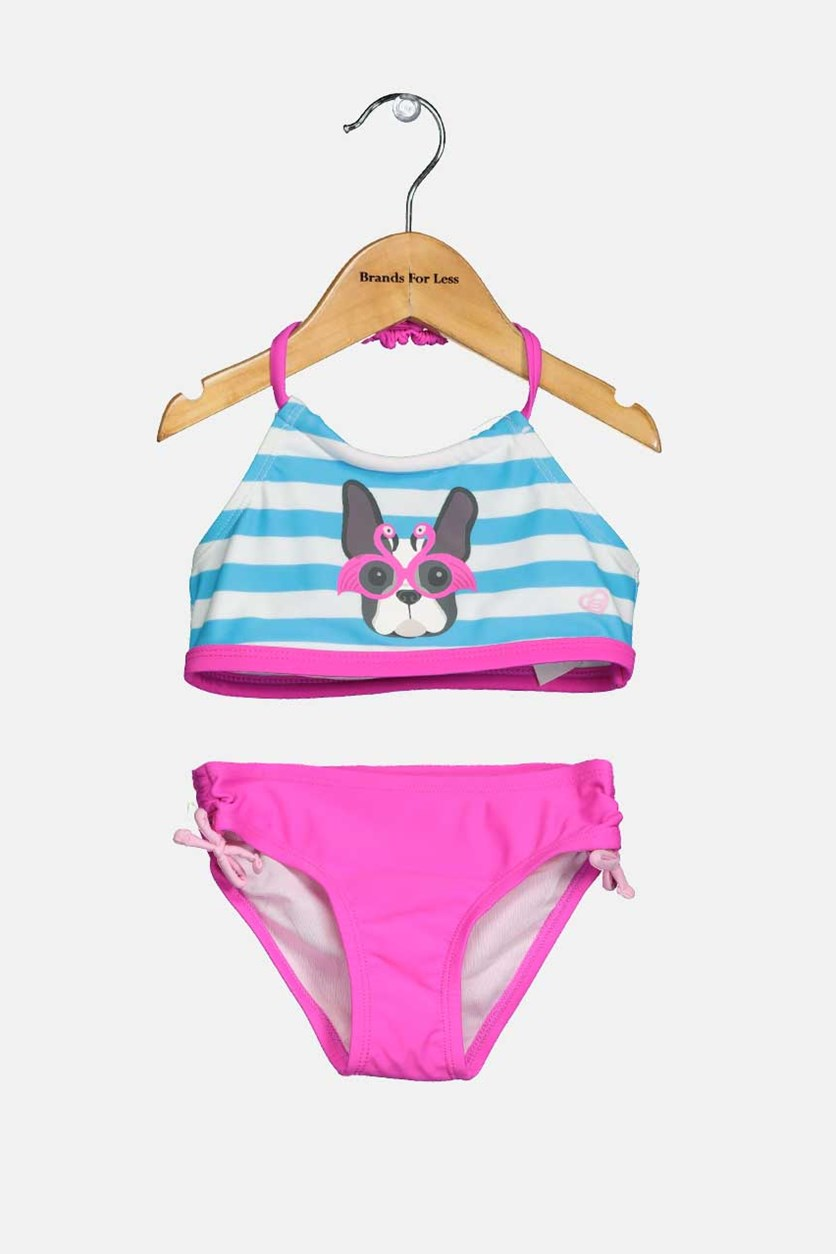 Toddlers Bikini Set, Blue/White/Pink