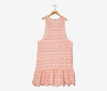 Miken Girls Crochet Racerback Drop-Waist Dress, Blush