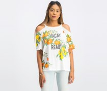 Lucky Brand Women Printed Cold-Shoulder Top, White Combo