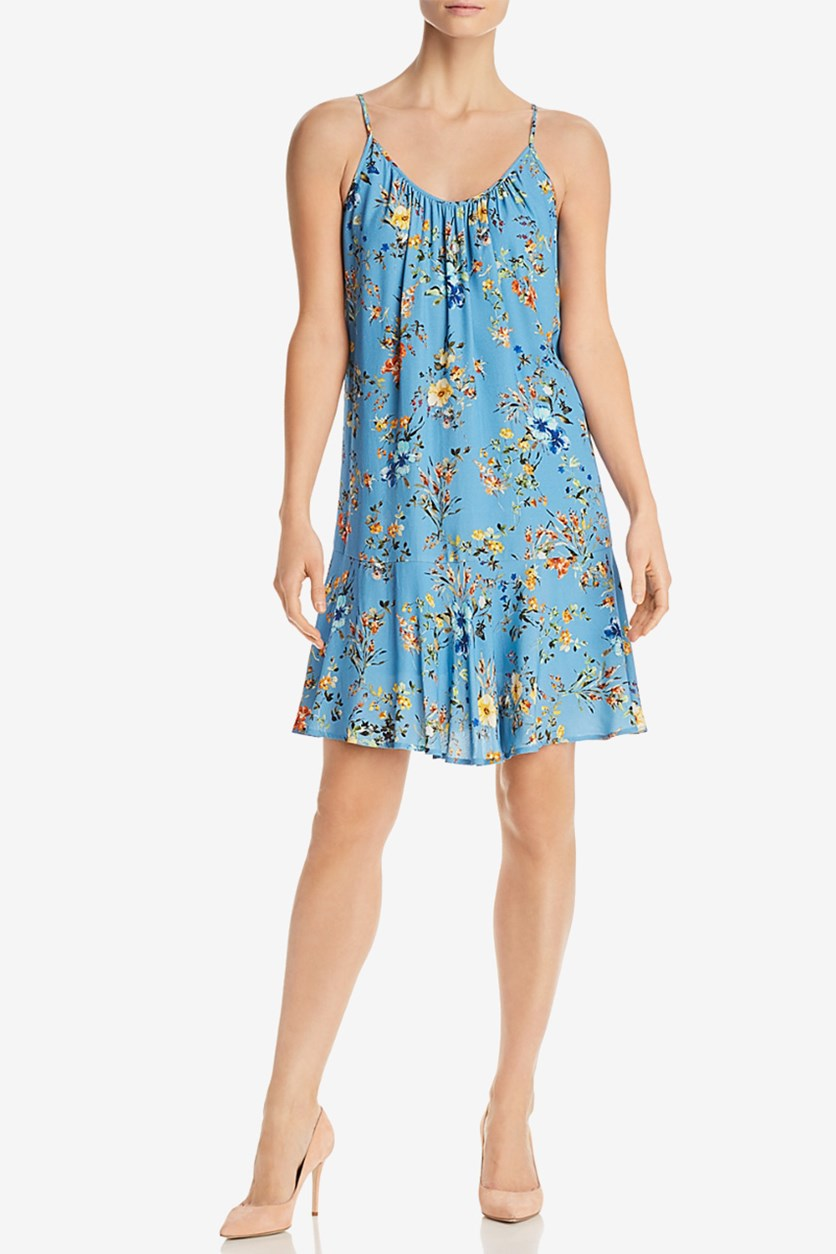Floral-Print Flounce Dress, Blue/Yellow