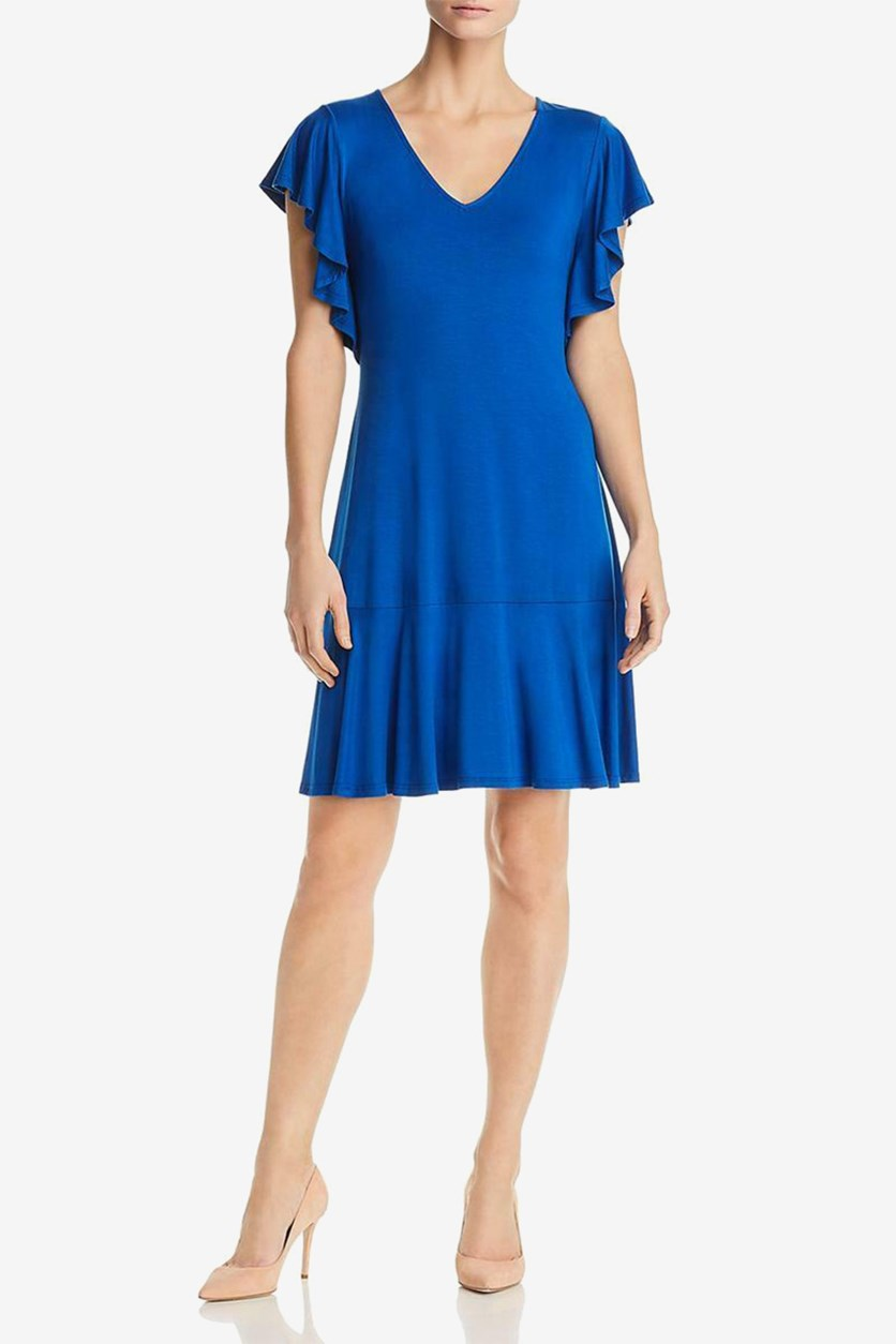 Flutter-Sleeve Dress, Blue