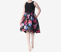 Xscape Floral Pleated Mesh Trim Cocktail Dress, Black/Pink
