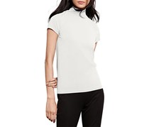 Ralph Lauren Women's Petite Jersey Short-Sleeve Turtle Neck Top, White