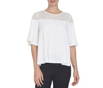 Cece Women's Three Quarter Sleeve Top, White