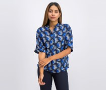 Gant Women's Cuff Sleeve Printed Blouse, Navy/Blue
