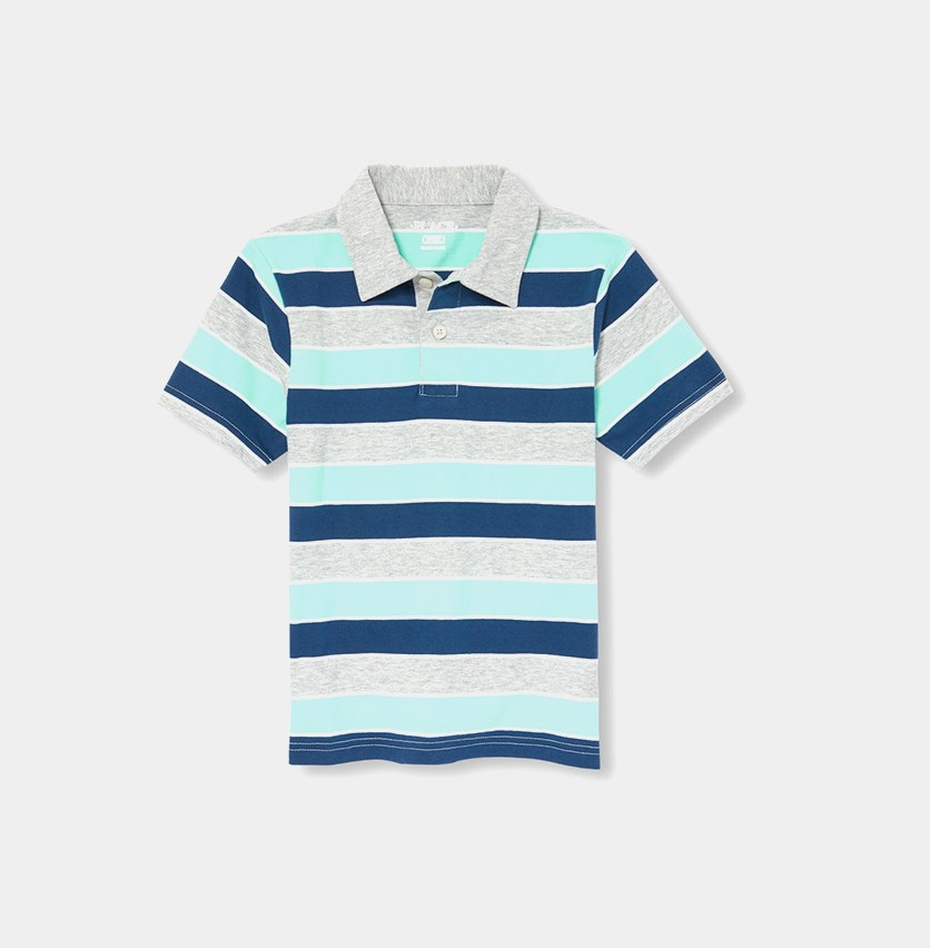 The Children's Place Boy's Stripe Polo Shirt, Mellow Aqua