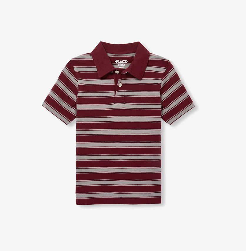 The Children's Place Boy's Striped Polo Shirt, Redwood