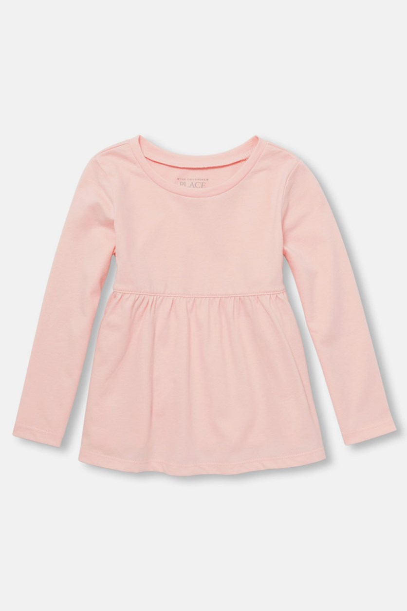 Little Girl's Long Sleeve Solid Tunic Top, Rosewater