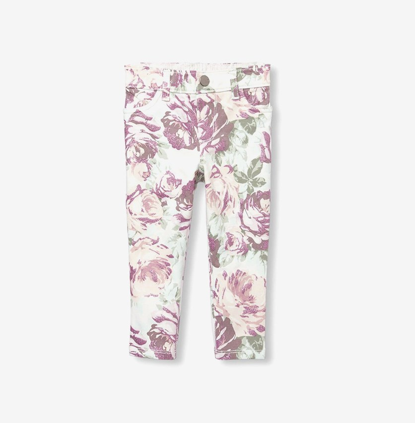 Baby Girl's Glitter Floral Print Knit Jeggings, Spring Thaw