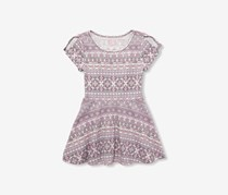 Toddlers Allover Print Dress, Dreamy Violet