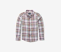 Boy's Plaid Casual Shirt, Feather