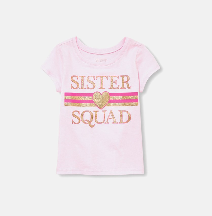 Baby Girl's Graphic Print Tee, Pink