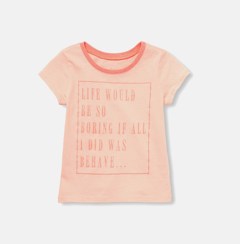 Baby Girl's Graphic Print Tee, Coral
