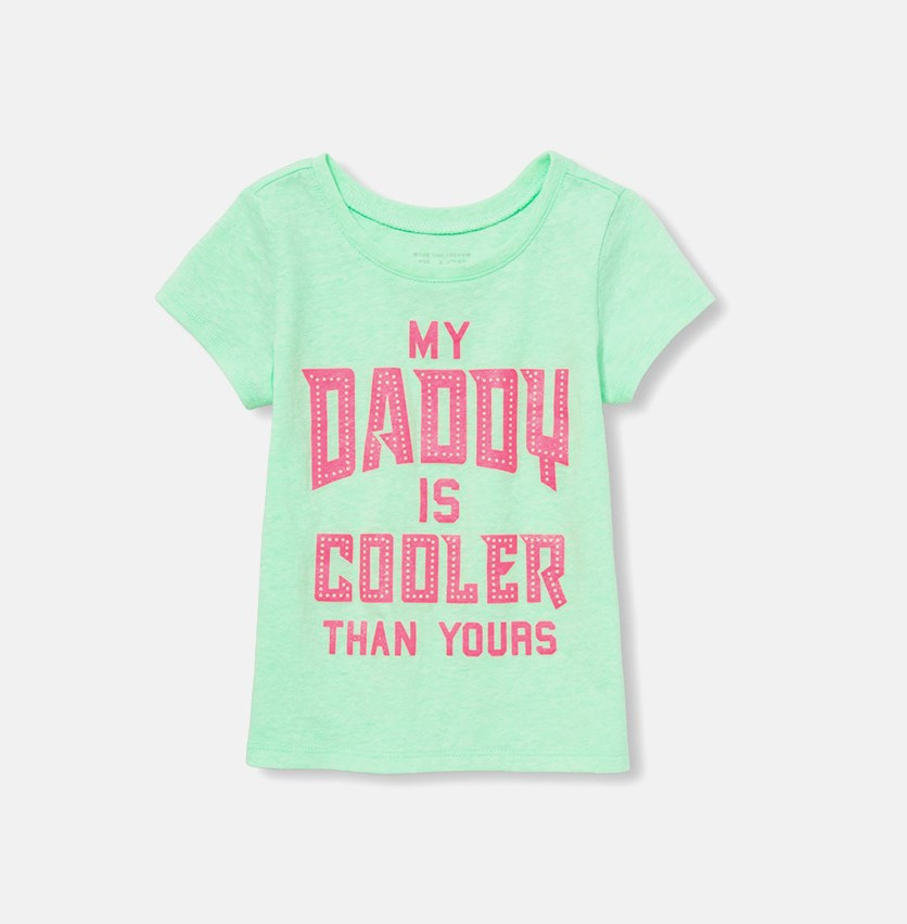The Childrens Place Baby Girl's Graphic Tee, Soft Sage Neon