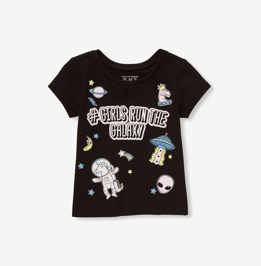 Kid's Girl Graphic Tee, Black