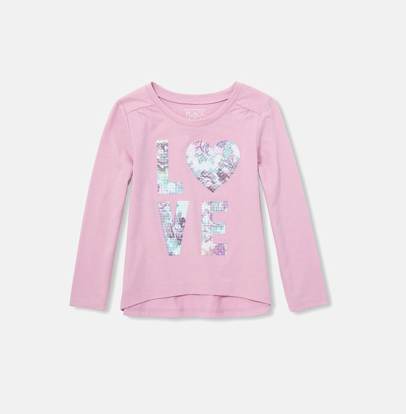 Baby Girl's Seuined Print Top, Lilac Dust