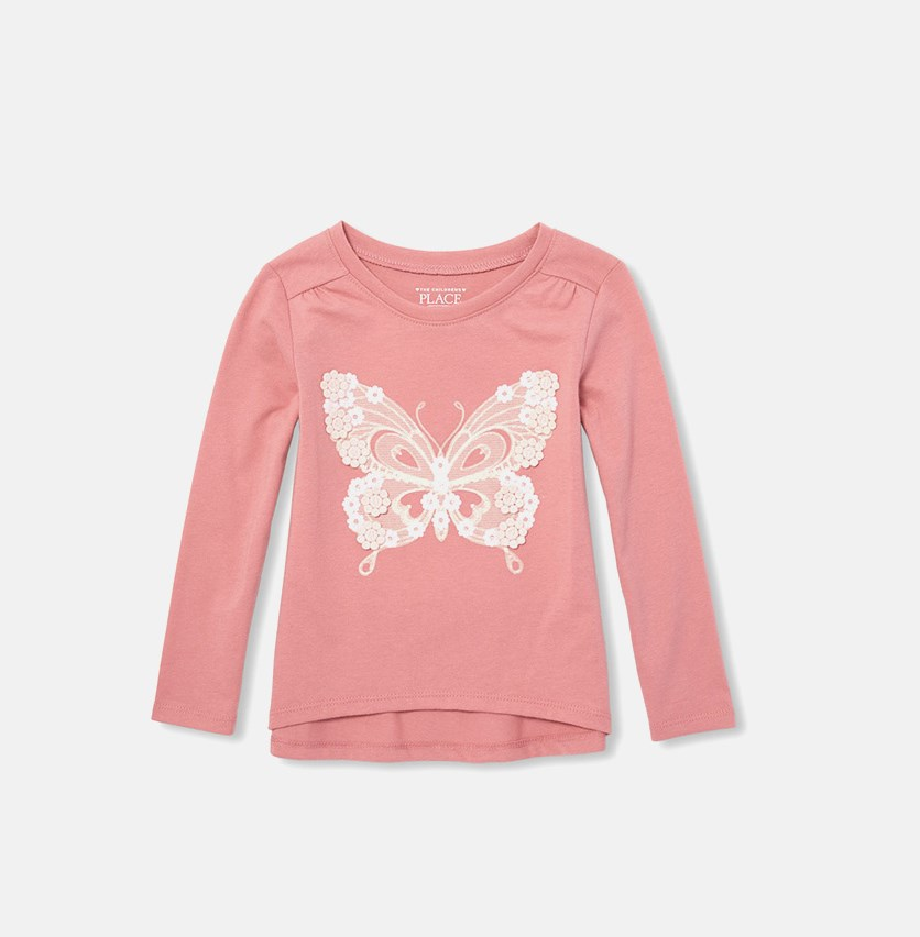 The Children's Place Baby Girl's Graphic Print Top, Mauve