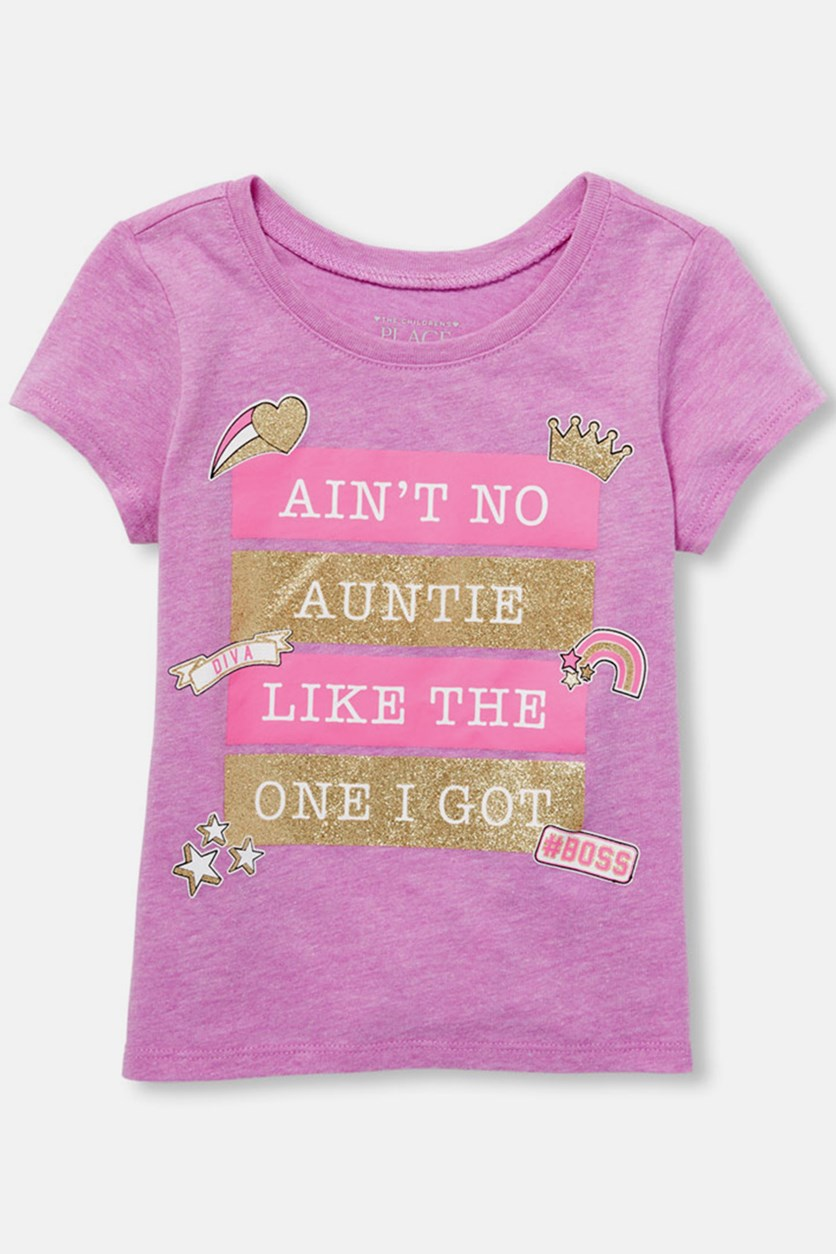 Baby Girl's Graphic Print Tee, Lilac