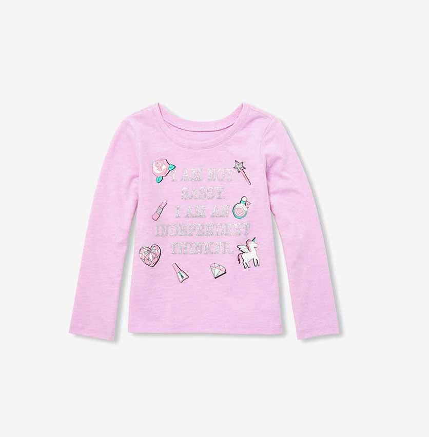 Little Girl's Graphic Print Tee, Lavender Lily
