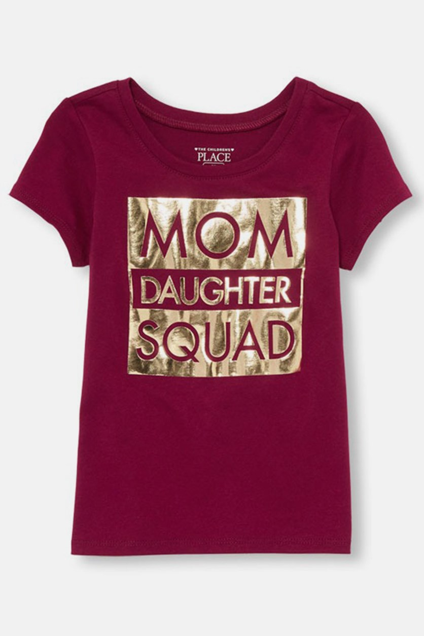 Toddler Girl's Mom Daugther Squad Print Tee, Dark Tamale
