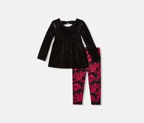 The children's place Blouse And Legging Set, Black/Red