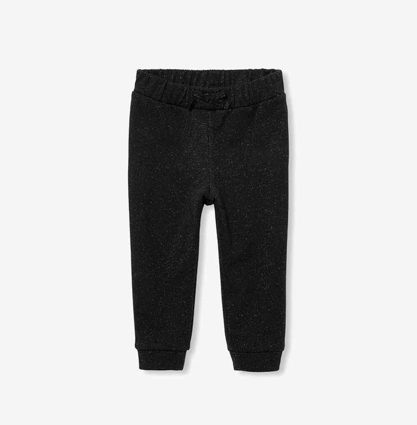 Baby Girls Metallic Jogger, Black