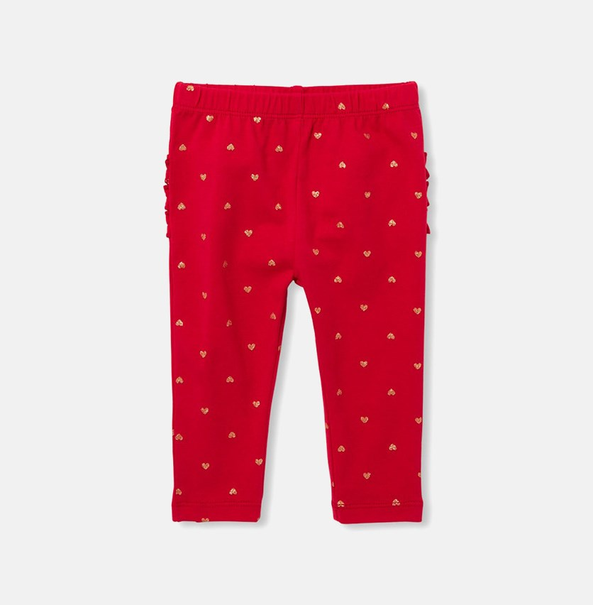 Baby Girl's Heart Print Leggings, Ruby