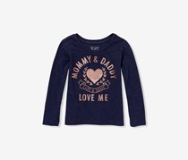 The Children's Place Baby Girl's Mommy & Daddy Love Me Tee, Evening Blue