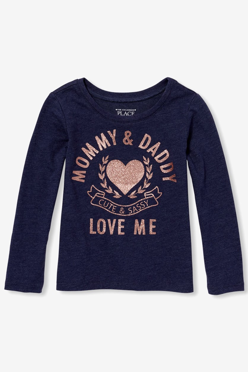 Baby Girl's Mommy & Daddy Love Me Tee, Evening Blue
